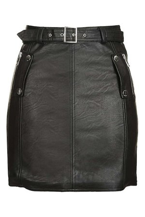 TOPSHOP Belted Faux Leather Moto Skirt