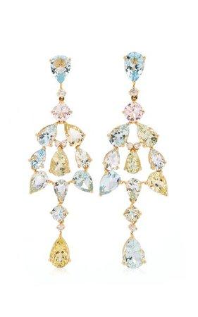 18k Yellow Gold Aquamarine, Diamond Earrings By Goshwara   Moda Operandi