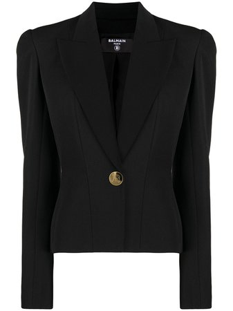 Shop black Balmain padded-shoulder single-breasted blazer with Express Delivery - Farfetch