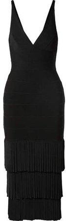 Fringed Bandage Midi Dress - Black