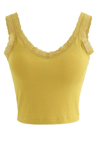Lace Straps Tank Top in Yellow - Retro, Indie and Unique Fashion