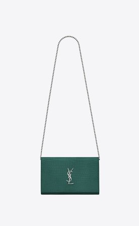 YSL chain wallet green croc