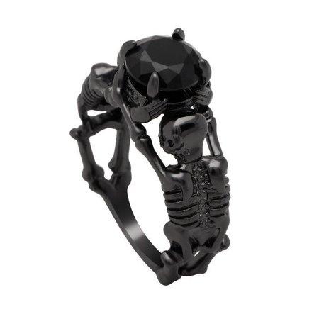 Stone Skeleton Skull Black Plated Ring