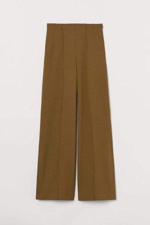 Wide-leg Pants with Slits - Beige