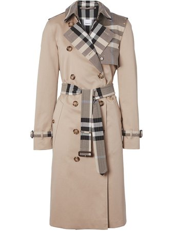 Shop Burberry check-panel gabardine trench coat with Express Delivery - FARFETCH