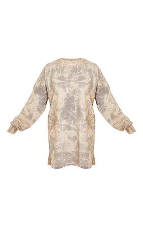 Stone Long Sleeve Tie Dye T Shirt Dress   PrettyLittleThing USA