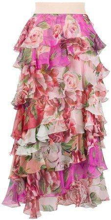 floral-print ruffled skirt