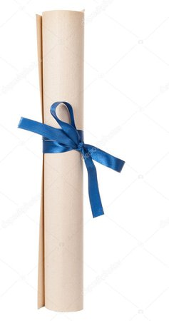 graduation dipolma with blue ribbon