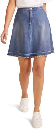 Raw Release Hem A-Line Denim Skirt