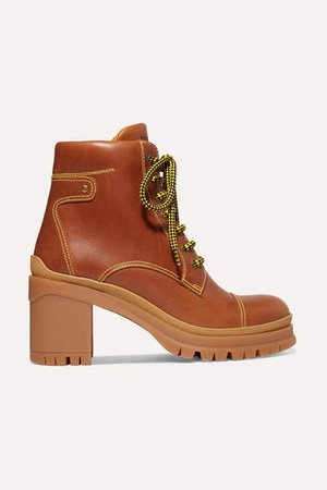 Leather Ankle Boots - Tan
