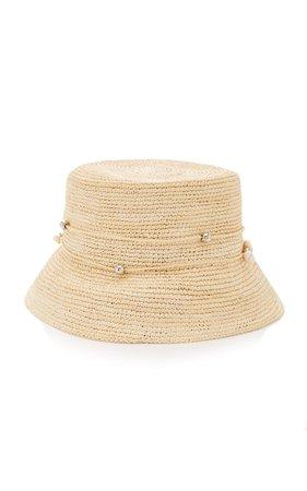 Embellished Straw Bucket Hat by Sensi Studio | Moda Operandi