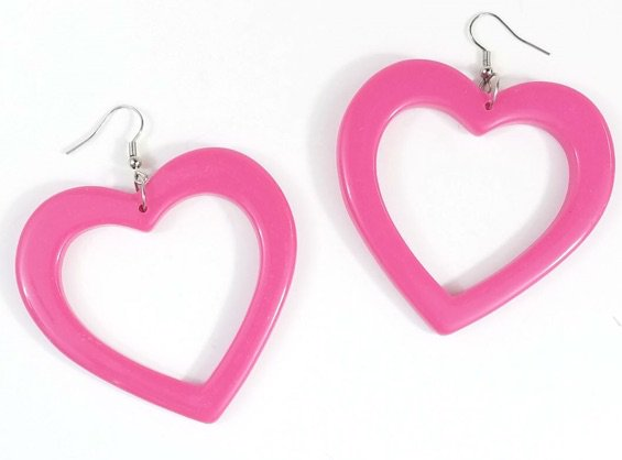 Heart Dangle Earrings in hot pink - NakedCityClothing