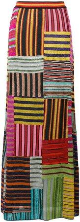 patchwork striped skirt