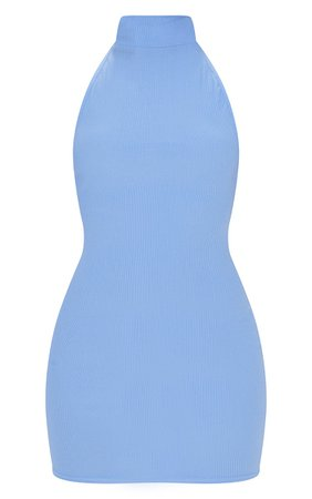 Blue Rib High Neck Extreme Open Back Bodycon Dress   PrettyLittleThing USA