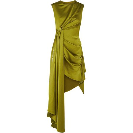 Green Asymmetrical Silk Dress