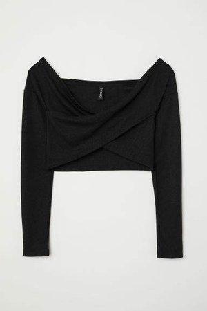 Off-the-shoulder Wrapover Top - Black
