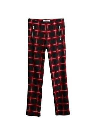 MANGO Zipped check trousers