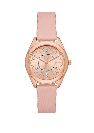 Crown & Ivy™ Rose Gold Tone Periwinkle Blush Leather Strap Watch