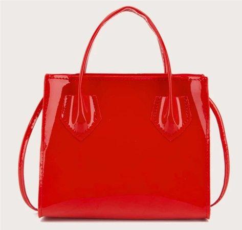 red patent bag