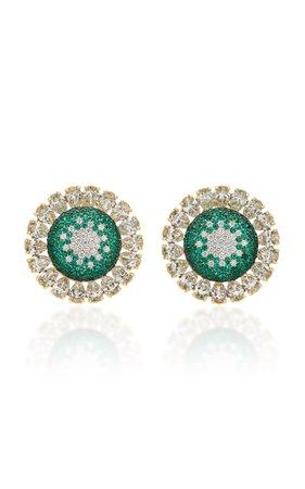 Martin Katz 18K Gold and Emerald Diamond Earrings