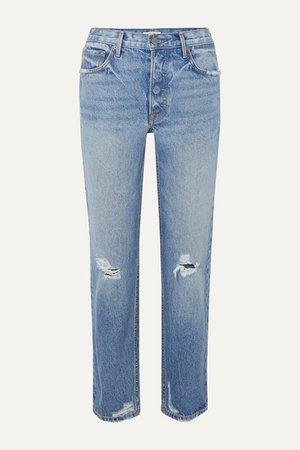 Helena Distressed Mid-rise Straight-leg Jeans - Light denim