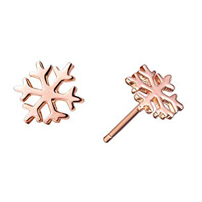 Paialco 925 Sterling Silver Christmas Snowflake Earrings Studs,Rose Gold Plating