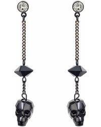 Black Spike Skull Drop Earrings
