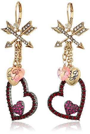 """Betsey Johnson """"Hearts and Arrows"""" Drop Earrings: Clothing"""