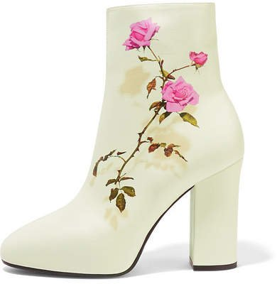 Floral-print Leather Ankle Boots - White