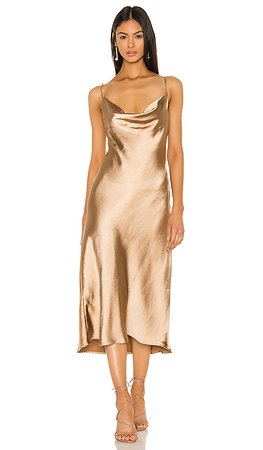 Lovers + Friends Geller Midi Dress in Gold | REVOLVE