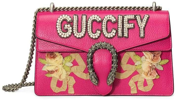 Pink Guccify Dionysus Small shoulder bag