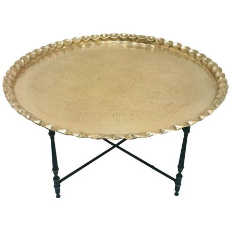 Large Moroccan Round Brass Tray Table on Folding Stand | Chairish