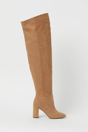Thigh-high Boots - Beige