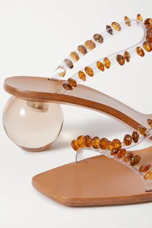 Clear Clio bead-embellished PVC mules | Cult Gaia | NET-A-PORTER