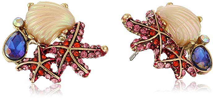 """Betsey Johnson """"The Sea"""" Starfish and Seashell Cluster Stud Earrings: Jewelry"""