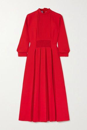 Red Pleated shirred crepe midi dress | Prada | NET-A-PORTER
