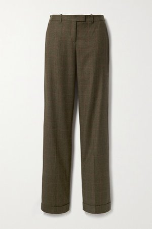 Checked Wool Straight-leg Pants - Army green