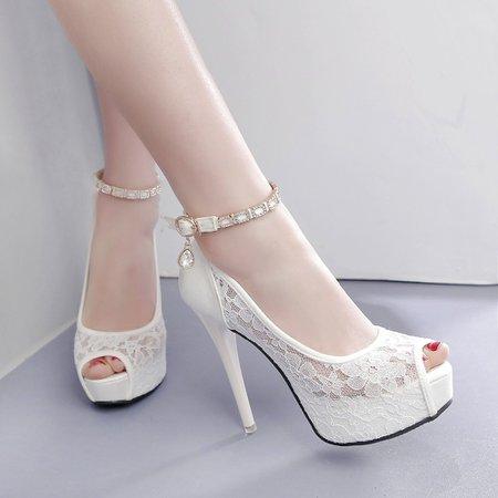 White Peep Toe Lace Platform 4cm High Heel 12cm Wedding Pumps - My Wedding Ideas