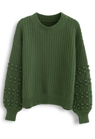 Bubble-Sleeve with Pom-Pom Detail Sweater in Green - Retro, Indie and Unique Fashion