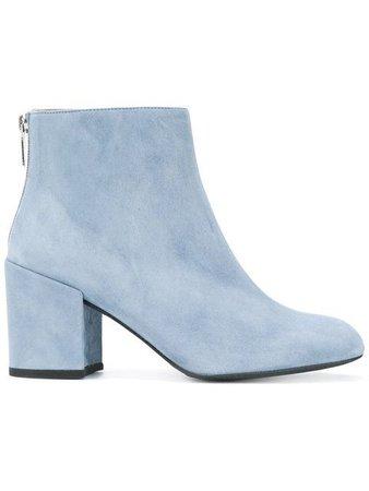 Blue high heel boots