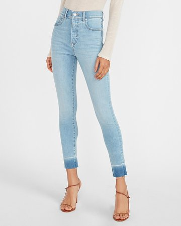 High Waisted Supersoft Raw Released Hem Skinny Jeans