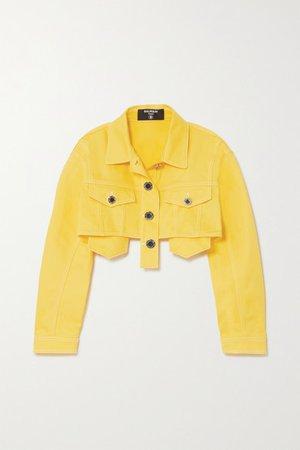Cropped Denim Jacket - Yellow