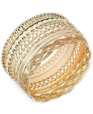 GUESS Textured Bangle Bracelet Set & Reviews - Bracelets - Jewelry & Watches - Macy's