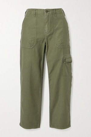 Service Cotton-canvas Straight-leg Pants - Army green