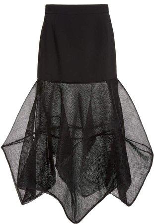 Akris Mesh-Paneled Wool-Blend Midi Skirt