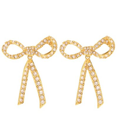 Crystal-embellished bow earrings
