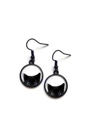 Cat Earrings Peeking Black Cat Earrings Cat Lover Gift   Etsy