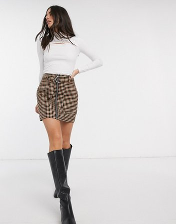 Stradivarius mini skirt with belt in brown check | ASOS