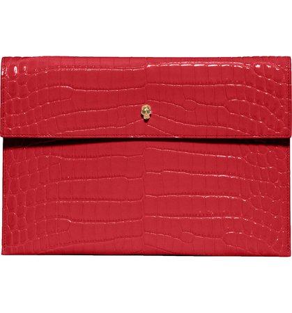 Alexander McQueen Croc Embossed Leather Envelope Clutch | Nordstrom