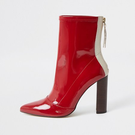 Red point toe stitch detail boots | River Island